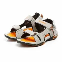 Mens Light Grey Black Orange Synthetic Leather Sports Sandals