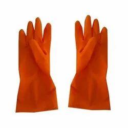 Orange Rubber Hand Gloves