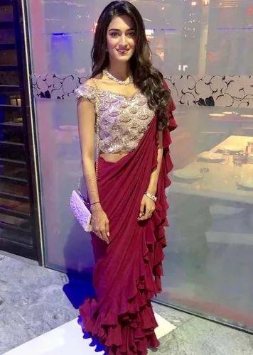 6743b448d6 Bollywood Clothes - Erica Fernandez Ruffles Designer Saree Ecommerce ...