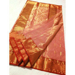 Party Wear Chanderi Silk Cotton Saree, 6.5 meter, With Blouse Piece