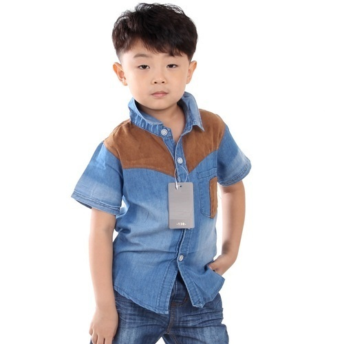 19bf75f239 Light Blue Festive Wear Kids Denim Shirts