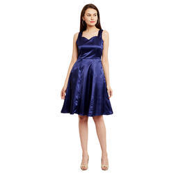 Blue Small And Large Ladies Party Wear Dress