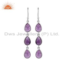 Natural Amethyst Gemstone Sterling Fine Silver Supplier Earrings
