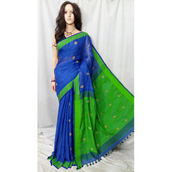 Blue And Green Linen Buti Jamdani Saree