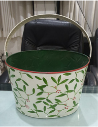 Handpainted Holly Leaves Festival Metal Tub Oval with Handle