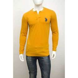 Yellow Men Us Polo Full Sleeve t Shirt