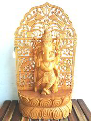 Wooden Standing Ganesha With Cut Work