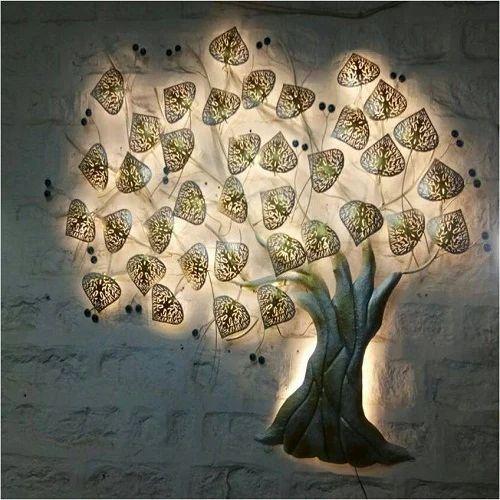 Iron Led Tree Design Wall Art