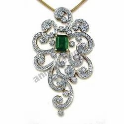 Diamond & Emerald Octogan 14k Gold Pendant