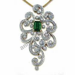 手工钻石和祖母绿切割吊坠,重量:20-30克