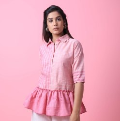 Cotton Slub Frill Shirt