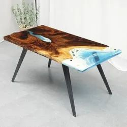Wood Brown Epoxy Coffee Table For Home