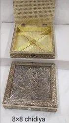 Silver Designer Mukhwas Wood Box For Gifting Purpose