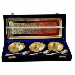 Diwali Gifts Silver and Gold Plated Apple Shape Bowl Set