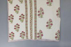 Cotton Quilt Block Print Jaipuri Razai, Mughal Floral Print Vintage Kantha Quilts