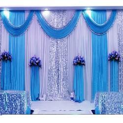 Blue And Sky Blue Polyester Wedding Curtain