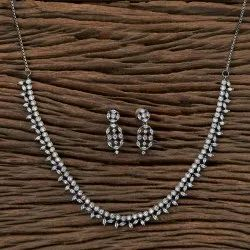White CZ Classic Necklace With Black Plating 406400, Size: Reguler Size And Adjustable