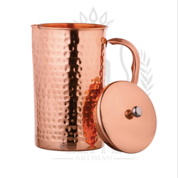 Cylindrical Pure Copper Jug, Hammered Design, Capacity: 1.5 Litres