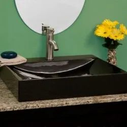 Black Rectangular Stone Wash Basin
