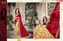 Beige-Red Designer Ladies Sarees