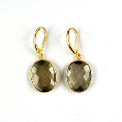 Smoky Quartz Hydro Gemstone Gold Plated Lever Back Earring