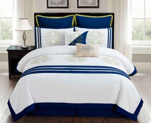 Blue Cotton Designer Bed Sheet, Packaging Type: Packet