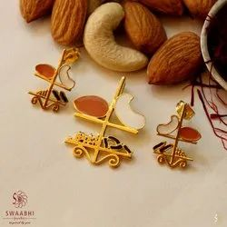 Copper And Brass Fancy Gold Pendant Set, Size: Pdt 1.2 Inch