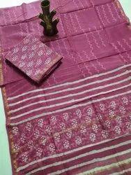 Pink Chanderi Block Print Dress Material, GSM: 150-200