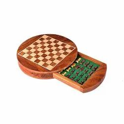 Round Shaped Flat Drawer Wooden Magnetic Chess Set