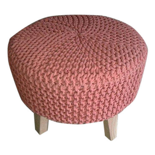 Miraculous Tanish Hand Knitted Pouffe Wooden Stool Gmtry Best Dining Table And Chair Ideas Images Gmtryco