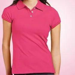 Cotton Half Sleeve Ladies Polo Neck T-Shirt