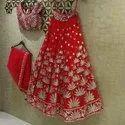 Semi-Stitched Bridal Wear Designer Red Lehenga Choli