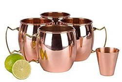 Copper Barrel Mugs Set with Shot Glass