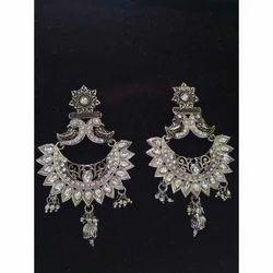Shreeji Party Ladies White Zinc Earring