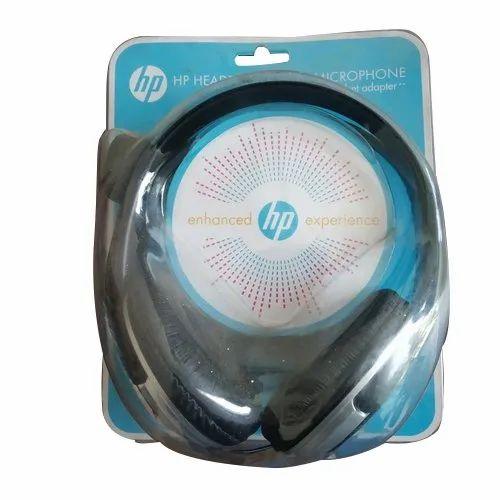 Black HP Wired Headphone, Packaging Type: Packet