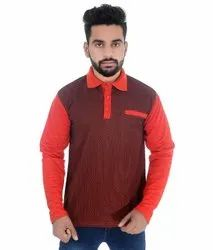 P-Knit Red And Maroon Men's Full Sleeve Polo T-Shirt, Packaging Type: Packet