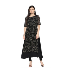 Ladies Printed Black Kurti
