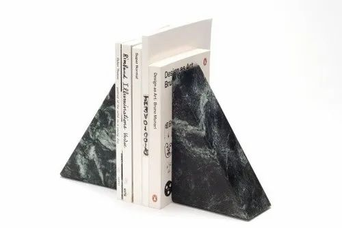 Black carara stone bookend
