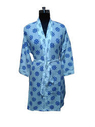 Women Hand Block Cotton Bathrobe
