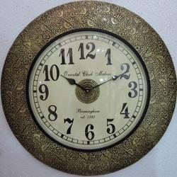 Vintage Brass Fitted Wooden Wall Clocks