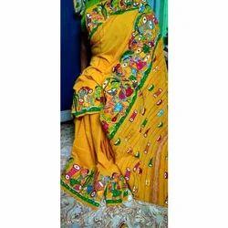 Craft Village Casual Wear Cotton Khesh Hand Painted (Bengal Patachitra) Saree