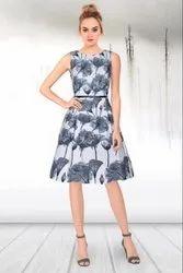 Western Blue Crape Silk Printed Dress, Size: XL
