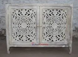 Outward Double Door Hotel Living Room Mango Wooden Carved Cabinet Furniture Jodhpur India, Distress White, Warranty: 6 Months