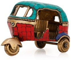 Export Quality Brass Made Auto Riksha For Home and Office Table Decor By Aakrati