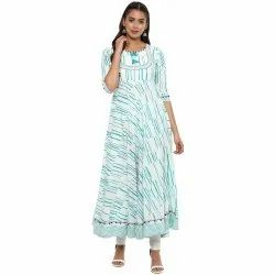 Yash Gallery Womens Cotton Slub Printed Anarkali Kurta