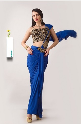 d81ec3d83d Royal Blue Wrap Around Saree & Pink Embroidered Net Saree Retailer ...