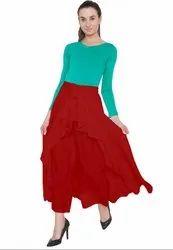 Red American Crepe Ruffel Palazzo Skirt