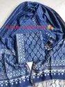 Girraj Printers For Textile Indigo Block Printed Chanderi Suit Material