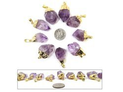Amethyst Gold Electroplated Raw Pendants
