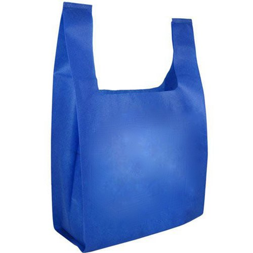 Plain Blue U Cut Non Woven Bag